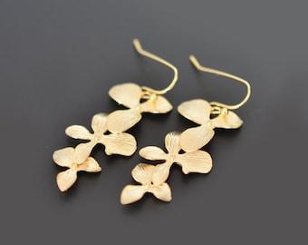 10% OFF, Triple orchid earrings,gold earrings,wedding earrings,bridal jewelry,anniversary gift,clip earrings,flower earrings,silver earring