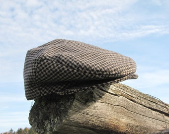 Houndstooth Flat Cap, Hounds Tooth Driving Cap, Gentleman Toddler Ring Bearer Photo Prop In Black And Tan Hounds Tooth,  Wool  Newsboy Hat