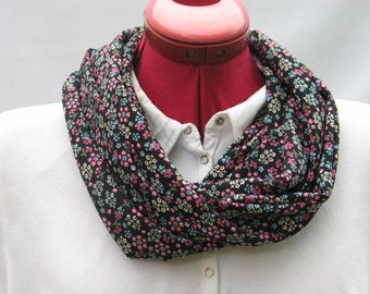 Black With Delecate Little Flowers Infinity Scarf, Black Loop Scarf For That Special Person's Birthday, Black Delecately Flowered Tube Scarf