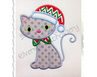 Applique Cat With Santa Hat Machine Embroidery Design - 4 Sizes