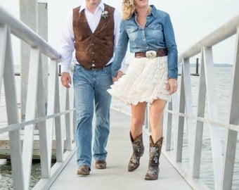 "The ""Ruffled Jeans Bride""  Skirt with many ruffles / Country / wedding / bride maids / Ivory / White - Custom, Made to Order"