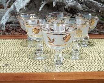 Vintage Libbey Gold Leaf Champagne Goblets, Glasses, Barware, Glassware