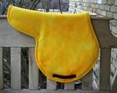 Horse Saddle Pad Yellow and Gold Tye Dye Fleece AP Shape Pad with Black Billets