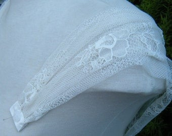 Ivory Soft Lace Straps Sleeves with pretty gathering Detachable Handmade in Canada