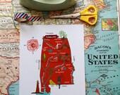 "Alabama Illustrated 8""x10"" Map"