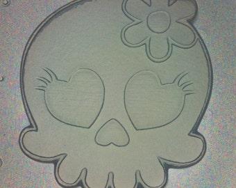 Flexible Resin Mold Girl Skull W/ Flower Bow Mould