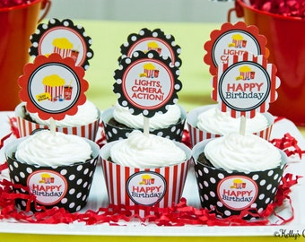 Movie Night Birthday Party Cupcake Kit- 2 Inch Party Circles and Cupcake Wrappers, Instant Download, Printable