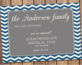 Moving Announcement with navy chevron and grey, typography, we have moved, new address, digital file printable (item180)