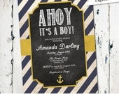 Nautical baby shower invitation with navy stripes, ahoy its a boy, anchor, yellow, navy, rustic, digital, printable invitation (JPD188)