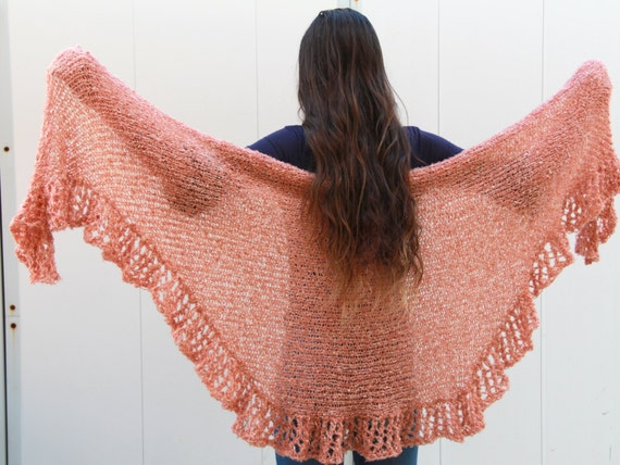 Purl Bee Knitting Patterns : Ruffle Shawl PDF Pattern Hand Knit Shawl Pattern by etty2504