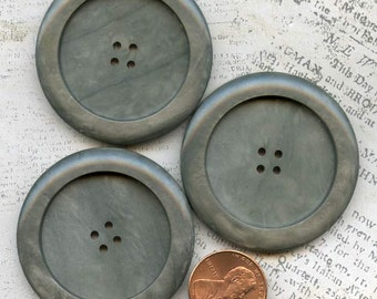 Excellent Set of 3 Huge Coat Buttons ~ 1-11/16 inch 43mm ~ Marbled Gray Green Plastic Sewing Buttons