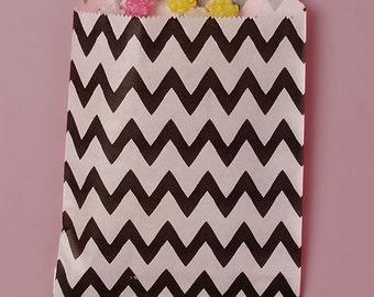 "25ct. Black & White ZIG ZAG CHEVRON 5-1/8""w x 6-3/8h"" Printed Paper Treat Goodie Bags Baggies Candies Popcorn Cookies"