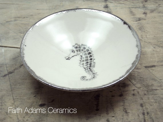 Seahorse White & Silver Porcelain Jewlry Dish, Ring Dish, Dipping Bowl-Wedding Favor, Hostess Gift, Bridesmaid Gift