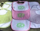 Monogrammed biba and burp cloth gift set