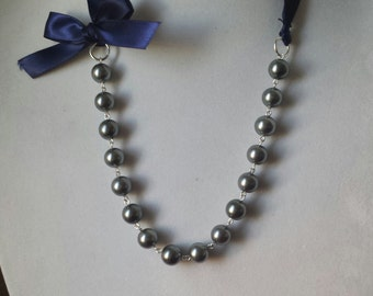 Charcoal Pearl and Navy Ribbon Bow Necklace