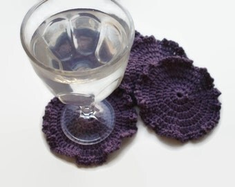 Set of 4 Crocheted Eco Frienfly Reusable Washable Coasters Light Pink