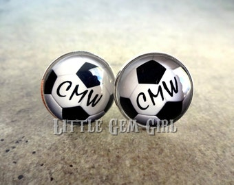 Soccer Ball Cuff Links -  Personalized Initial Cufflinks - Coach Custom Sports - Wedding Gift for Groom and Father - Sterling and Stainless