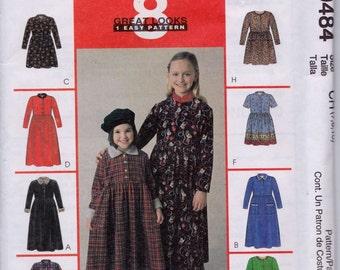 McCall's 9484 Girls' Dress in Two Lengths Pattern, UNCUT, Size 7-8-10, 8 Great Looks