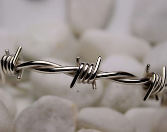 Barbed wire bracelet in sterling silver