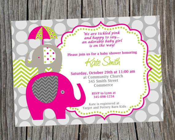 hot pink and green elephant baby shower invitation. printable by, Baby shower