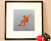 Modern Children's Paper Wall Art - Skateboarder in Action Silhouette 2 or Personalized - 12 x 12 - Chevron Grey and Orange or Custom Color
