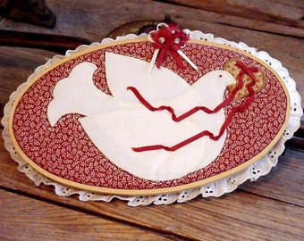 Dove 'n Heart Embroidered Hoop Art, Machine Appliqued Wall Home Decor, Wedding Valentines Day Easter Gift, Symbol of Peace itsyourcountry