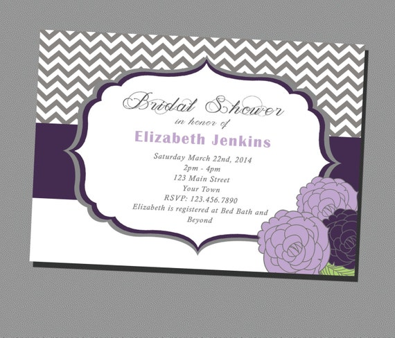 chevron grey and purple bridal shower invitation printable, Bridal shower invitations