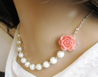 SET of 8 Rose pearl necklace, bridesmaid necklace, flower necklaces, wedding jewelry custom  - F006