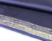 Navy Blue Silk Sari-Silk Blend-Recycle Silk Fabric-Blue Silk Ribbon-Repurpose Silk Fabric-Golden Border-Art Quilts-Sewing Supplies-Half Yard