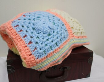 Vintage 70s Decorative Granny Square Childrens or Nursery Quilt - Pastel Small Knit or Crochet Throw