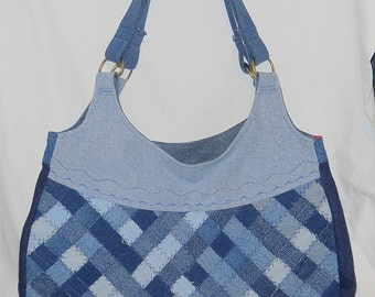 Large Purse, Woven, Hand-Made, Upcycled  Reclaimed Denim, Truely OOAK