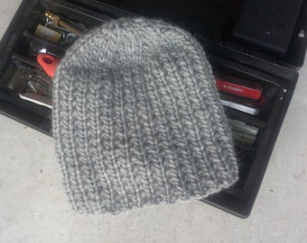 Gray Mens Hat - Mens Slouch Hand Knit Chunky Pure New Wool Men's or Women Hiking Biking Skiing Fishermen (One Size - Made to Order)