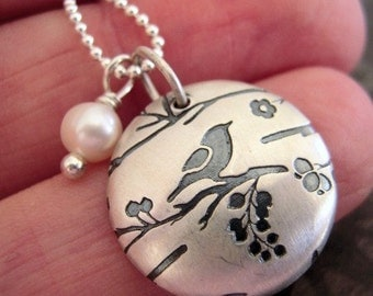 Bird Song Sterling Silver Pearl Necklace. under 20