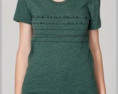 Birds on a Wire Womens T Shirt Back to School College Outfit Fashion Trend American Apparel s, m, l, xl