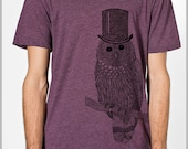 Snow Owl T Shirt with Top hat Men's Unisex American Apparel xs, s, m, l, xl 9 COLORs Harry Potter Gift for her Gift for him