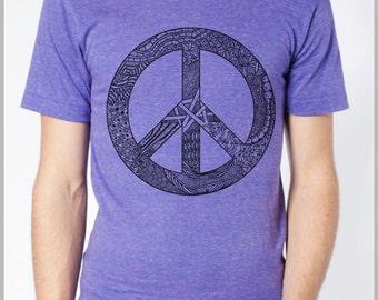Men's T Shirt Peace Symbol American Apparel XS, S, M, L, XL 9 COLORS