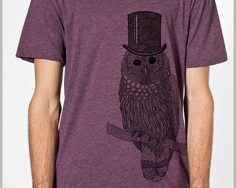 Snow Owl Men's T Shirt with Top hat Unisex American Apparel xs, s, m, l, xl 9 COLORs Gift for her Gift for him