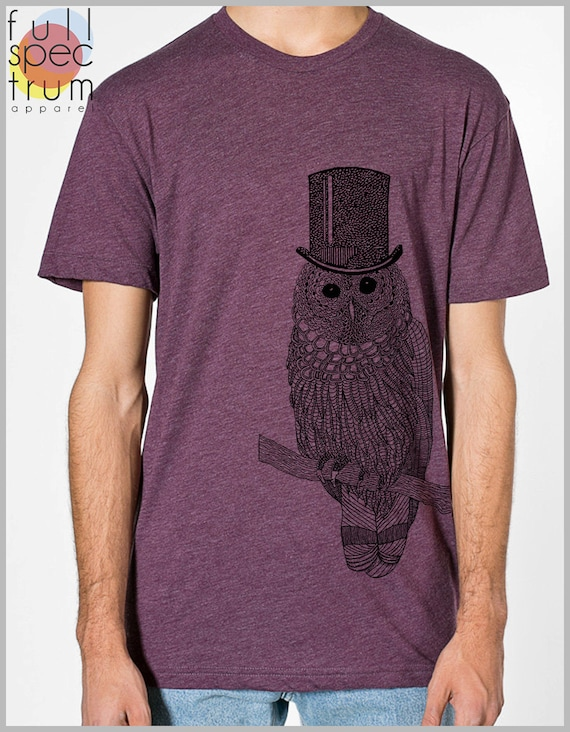 Snow Owl Men's T Shirt with Top hat Unisex American Apparel xs, s, m, l, xl 9 COLORs Harry Potter Gift for her Gift for him