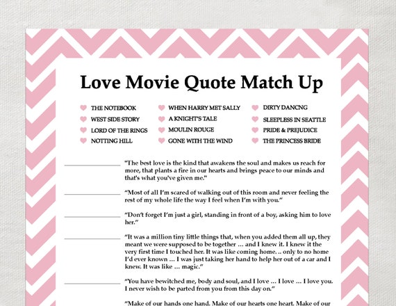 Movie love quotes matching game