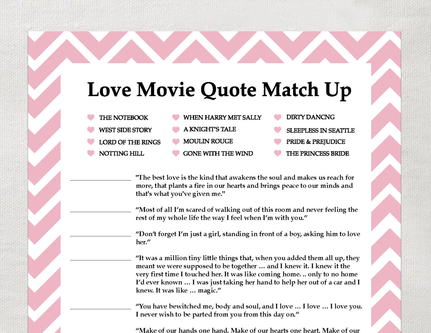 love quote matchup game instant download bridal shower game