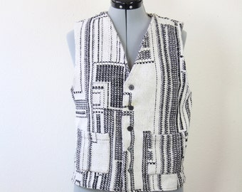 SALE Vintage Retro Black and White Geometric Vest
