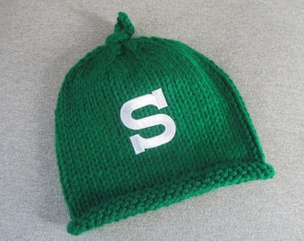 MICHIGAN STATE Hand Knit Baby Hat - MSU Spartans Baby Hat - Michigan State Hand Knitted Baby Hat
