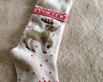 Large pottery barn vintage stocking with DAD embroidered at top machine knit and lined