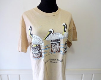 Vintage Tan Pelican Florida T-Shirt 1990 size Large