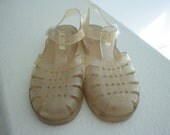 Vintage 90s Beach Jellie Jelly Clear and Glitter Sandals Shoes Size 7