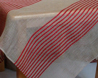 """Linen Tablecloth Natural White Red Gray in Stripes 98,4"""" x 57,5"""""""