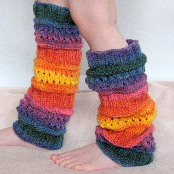 Child Boot Cuff Boot Toppers Leg Warmers Boot Socks Cable Striped Blue Red Green Orange Multicolored Handknitted