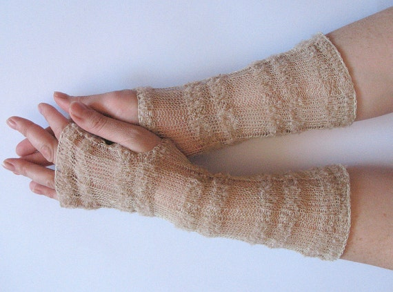 Long Wedding Beige Bridal Gloves Lace Gloves Fingerless