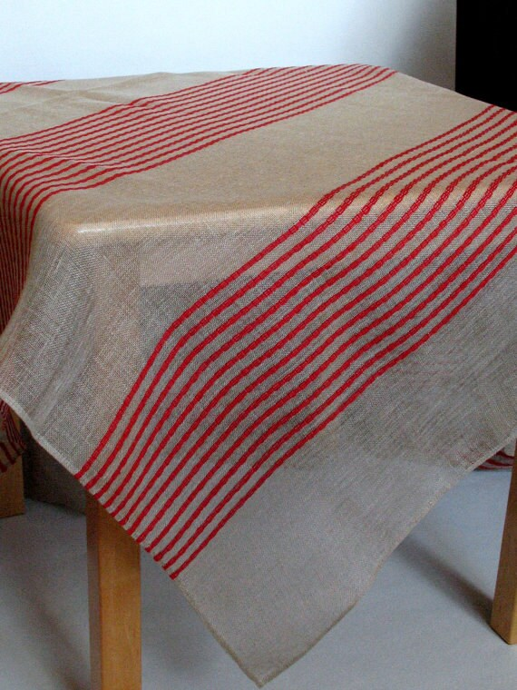 linen tablecloth natural white red gray in stripes 118 x