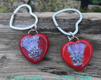 Key Ring Pendant Polymer Clay Large Red Valentine Scottish Thistle Hearts